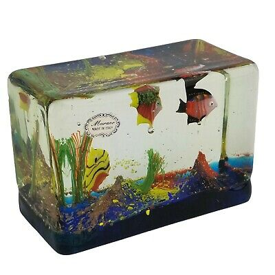 Murano Art Glass Fish Aquarium Block Paperweight Sculpture with Stickers