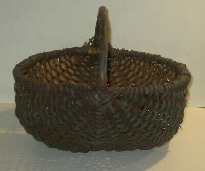 Antique Primitive Large Buttocks Basket With Worn Blue Paint, As Is