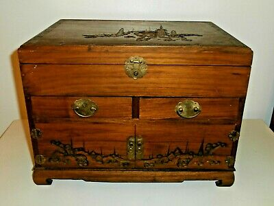 Large Vintage Wooden Oriental Carved Design Jewelry Box