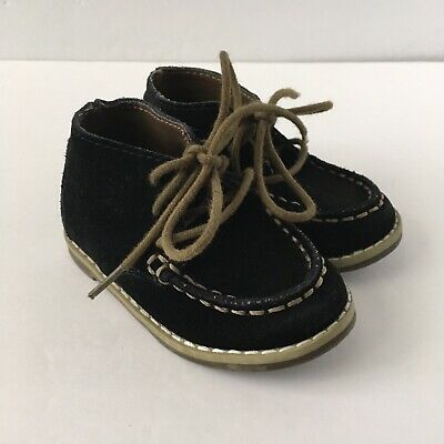 Janie & Jack Boy Toddler Black Tan Leather Suede Lace Up Ankle Boots Shoes 4