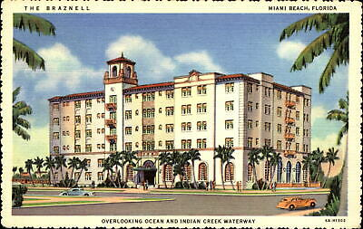 Braznell Hotel ~ Miami Beach Florida FL ~ mailed 1941 to DA NORTON Cleveland OH