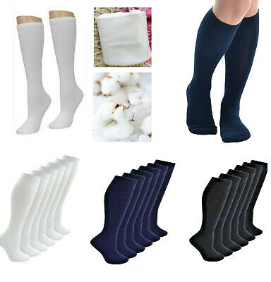 Cotton Long School Knee High Black White Navy Blue Socks Kids Boys Girls New AU
