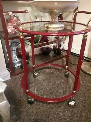 Vintage / Mid Century / Hollywood Regency / Drinks / Tea Trolley / Red Bordeaux