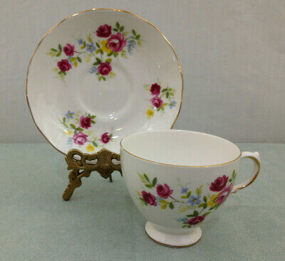 Queen Anne Numbered 8456 Dainty Rose Beauty  Footed Tea Cup And Saucer Set