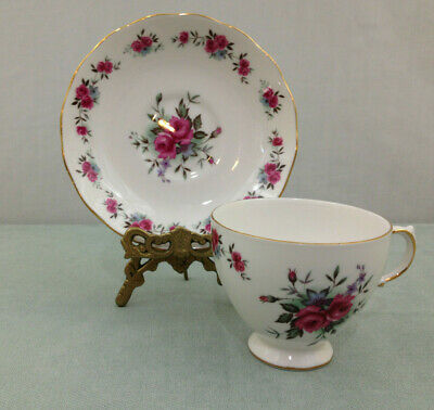 Queen Anne Numbered 8186 Ring Of Roses  Footed Tea Cup And Saucer Set