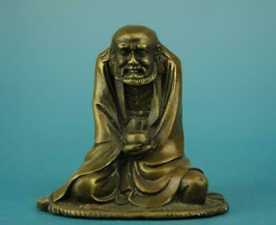 chinese old fengshui copper hand-carved Bodhidharma Buddha statue d02