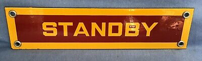 NOS vintage •SHELL OIL CO.• old Gas Station pump Garage •STANDBY PORCELAIN SIGN•