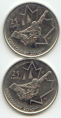 Canada 2008 x2 Snowboarding Olympic Vancouver 2010 Quarters Canadian 25c 25 c