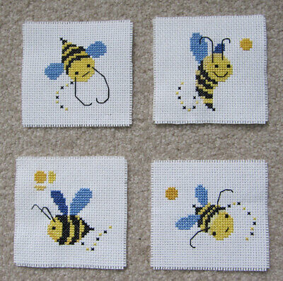 CROSS stitch PIECEs bee ANIMAL fun CHILDREN craft HOBBY sew EMBROIDERY art CLOTH