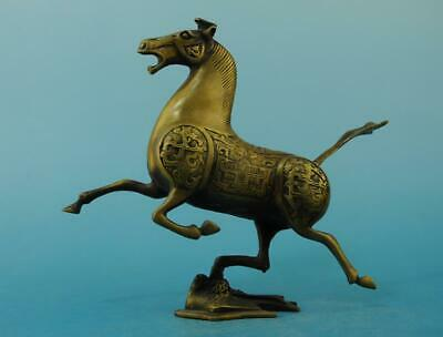 Chinese old copper fengshui hand-carved horse tread Swallows statue e01