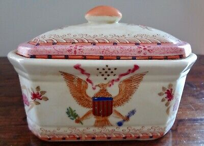 Antique Chinese Export American Eagle Armorial Porcelain Tureen Lidded Box