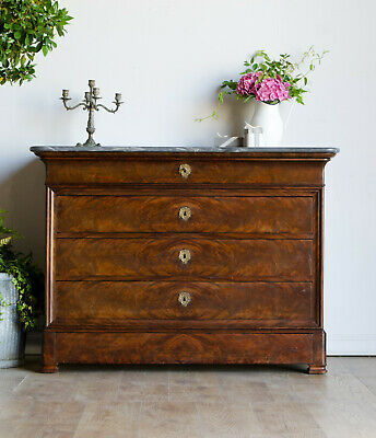 French Antique Louis Philippe 19C Oak Flame Mahogany Chest of Drawers Marble Top