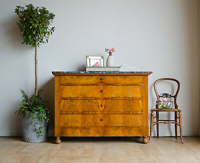 French Antique 19C Oak and Flame Mahogany Chest of Drawers with Marble Top