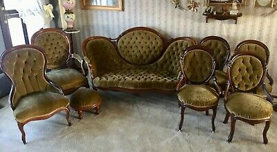 Antique 8-Piece Victorian Parlor Set; Gentlemen, Ladies, Sofa and Side Chairs