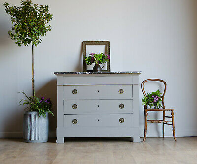 French Antique 19C Chest of Drawers with Marble Top Painted in Farrow & Ball