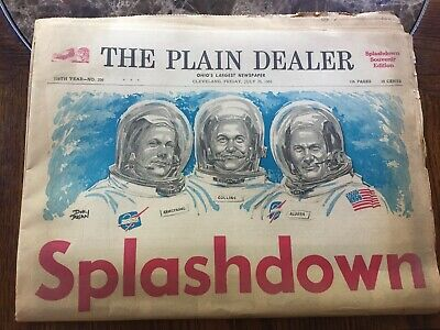 Vintage Cleveland Plain Dealer Newspaper July 1969 SPLASHDOWN Apollo 11