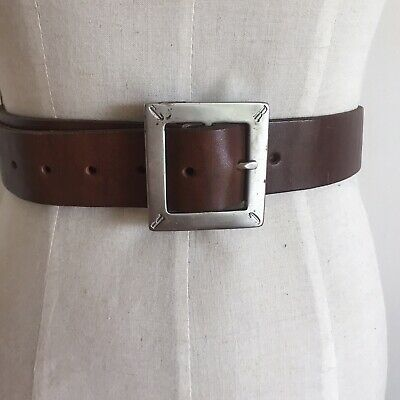 Country Road Brown Leather Belt Square Silver Buckle