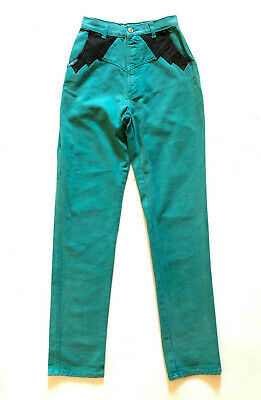 Vintage 1980s 'Blaze' high waisted teal denim rodeo jeans with black accents