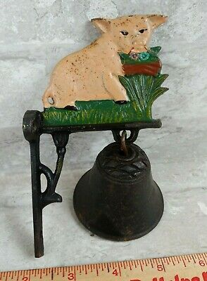 Vtg Figural CAST IRON Farm Pig Hanging Wall Mount Country Farmhouse Dinner Bell