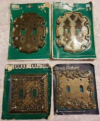 4x Vintage Ornate 2 Toggle Light Switch Plates Antique Brass Edmar Creations