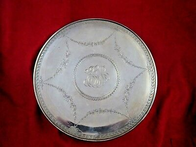 Vintage Sterling Silver Brite-Cut Serving Plate with Monogram