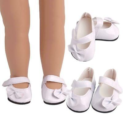1 Pair White Pu Bow Shoes Dolls Accessories Suitable Doll Inch For 18 Girl J1O1