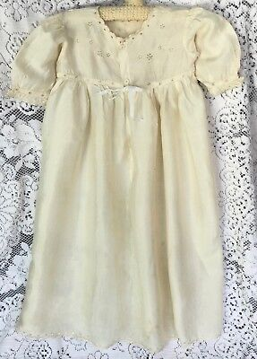 Beautiful Antique Baby Gown, Silk, Hand-Embroidered, Eyelet Work, Scallops