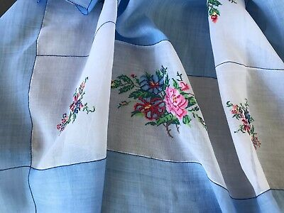 VINTAGE PINA CLOTH NEEDLEWORK CROSS-STITCH TABLECLOTH BLUE & WHITE 4' square