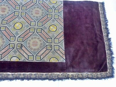 Antique Mantel Cover / Altar Cloth, Hand-Embroidered Velvet & Linen, Braid