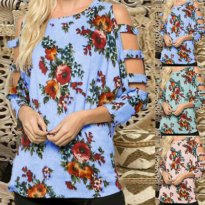 Women Cold Shoulder Floral Tops Blouse Ladies Summer Casual Loose Shirt 12-20