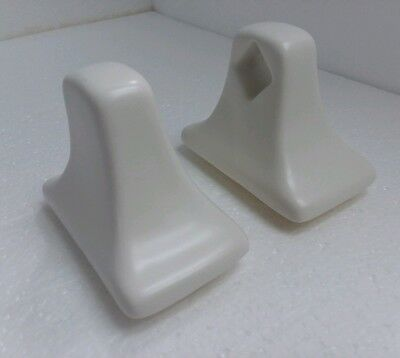 Snow White Ceramic Towel Bar Rod Holders Vintage Off White Matte Mid Century