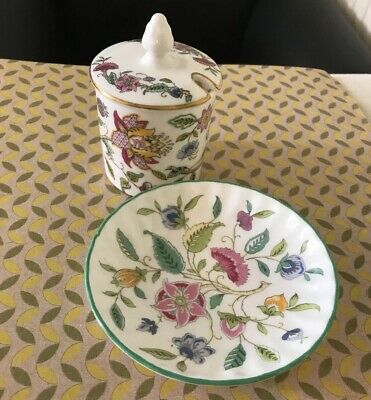 Minton Haddon Hall Mustard Pot & Butter / Sauce Plate - Preowned