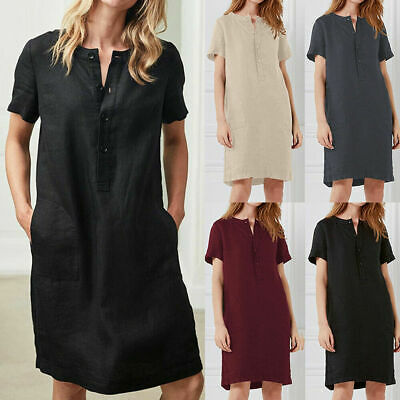 Fashion Women Summer Solid O Neck Short Sleeve Cotton Linen Casual Maxi Dress
