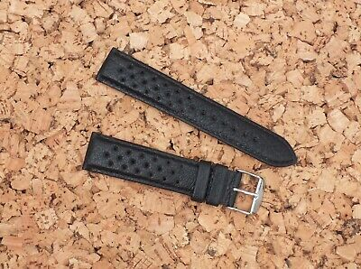 Genuine French Leather Vented Padded Rally Watch Strap 20mm  Black by Geckota