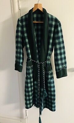 Gowings Australia Vintage Men's Green Check Dressing Gown Robe, Wool, Size M