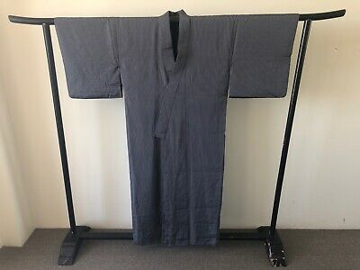 Japanese Vintage Long Pinstripe Silk Kimono One of a Kind Robe Costume