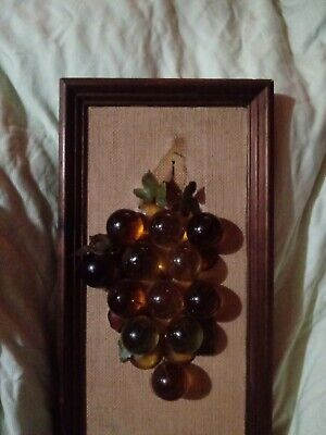 Vintage Multi Color Acrylic Lucite Grapes Wall Hanging Retro Mid Century Art
