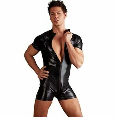 Sexy Gay Black Wet PVC Look Rubber Latex Romper Catsuit Fetish Bondage Valentine