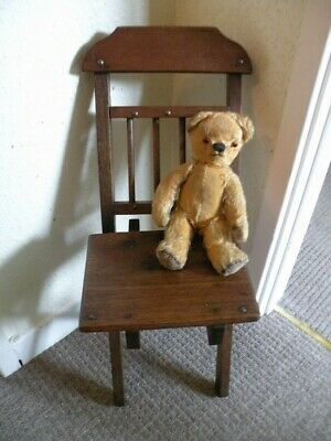 ANTIQUE FOLDING WOODEN CHILD'S CHAIR (Not inc. teddy)