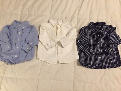 Lot Of 3 Baby Boy Button Down Dress Shirts Size 6-12 Mos. Janie & Jack Gymboree