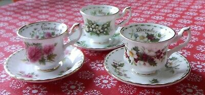 Royal Albert Bone China Flower of the Month Miniature Cup & Saucer x 3