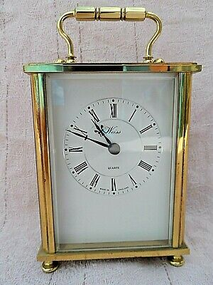 Vintage English Made Weiss Solid Brass Quartz Carriage Clock Nice Condition Gwo