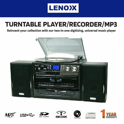 Stereo System Turntable Vinyl Record Player w/ Dual Cassette Recorder USB CD MP3