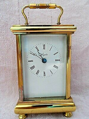 Vintage Swiss Made Angelus Solid Brass Quartz Carriage Clock Nice Condition S/R