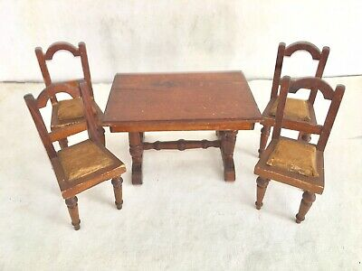 ANTIQUE....HANDMADE DOLL VICTORIAN DINING TABLE, 4 PADDED CHAIRS and SIDEBOARD