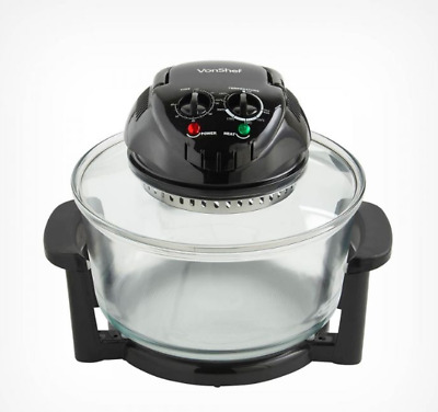 Self Cleaning Glass Bowl Multifunctional Cooking Appliance Black Halogen Oven