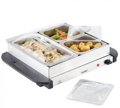 Adjustable Thermostat Cool Touch Handles Separate Food Warming Pan Buffet Server