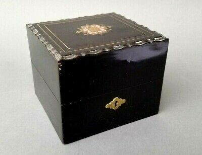 antique French boulle inlaid fitted box w key has four gilded cut glass bottles