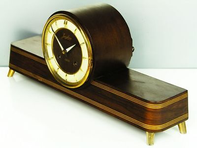 BEAUTIFUL LATER ART DECO DESIGN CHIMING MANTEL CLOCK FROM JUNGHANS with RESONANZ