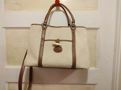 Vintage Stone Mountain Canvas Tan Brown Leather Shoulder Bag Purse Red lining